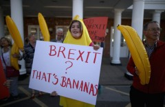 Vote Remain supporters dressed as bananas protest as Boris Johnson addresses a Brexit rally. (Pic credit: Christopher Furlong/Getty Images)